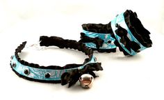Blue Pearl Leather Black Ruffle Ribbon and Bell with by noxhyde, $79.99