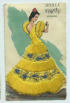 /tcc/ Spanish Dancer, Spanish Art, Fabric Postcards, Vintage Postcards, Dress Card, Flamenco Dancers, Ethnic Dress, Mexican Art, Embroidered Silk