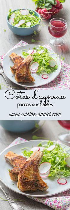 Côtes d'Agneau panées aux Herbes et Miel, salade de Pourpier & Radis