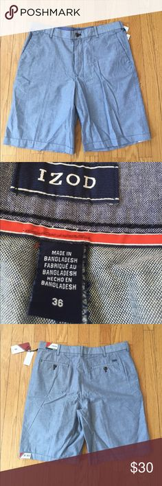 """IZOD blue shorts IZOD Newport Oxford blue short, size waist: 36"""", inseam 10.5"""". Features: belt loops, front zipper, two back pockets, two side pockets. New with tags. Izod Shorts Flat Front"""