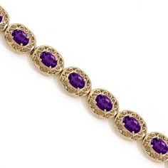 Amethyst Antique Style Filigree Link Bracelet 14k Yellow Gold. Save 5% on this from Allurez with coupon code here: www.couponfinder.com/s/831103/Allurez-coupons?xtrnl=pinterest