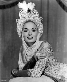 American actress Ann Blyth smiling in the film The Golden Horde. USA, 1951.