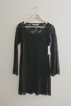 Bohemian Black Lace Bell Sleeve Tunic Dress