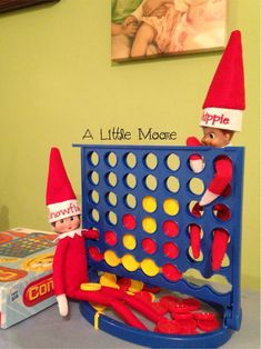 This is our first year with two elves and with the arrival of Snowflake and we are looking forward to having them interact. They are starting out with game night! Super easy and fun!