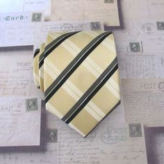 Mens Tie Dusty Gold Light Gold Yellow Black Plaid by TieObsessed, $19.95