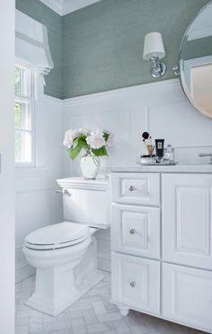 Blue Grasscloth Bathroom