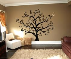 The trees are always popular, and we love them mixed with family photos like this one. The tree is the main color and the leaves are in a second color. The sizes are for the tree itself, but the design can take up a lot of space if you really scatter the leaves. Bring a little nature inside with our giant sized trees. These giant sized decals are the pe...