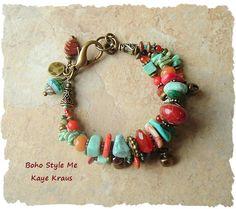 Chunky Turquoise Bracelet Rustic Southwest Bracelet by BohoStyleMe