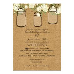 roses burlap Rustic mason jar wedding invites