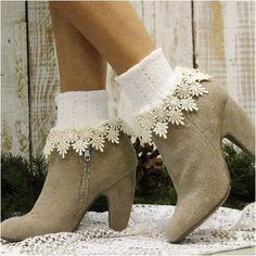 DAISY lace cuff socks - white/ivory