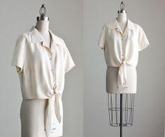 90s Vintage Cream Silk Tie Waist Blouse /1990s Express by decades, $38.00