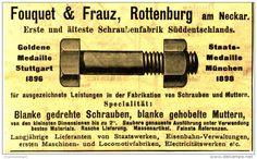 Original-Werbung/ Anzeige 1901 - SCHRAUBEN - FABRIK FOUQUET & FRAUZ  / ROTTENBURG  ca. 100 x 55 mm