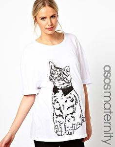 ASOS Maternity T-Shirt With Roll Sleeve And Sketchy Cat - please use my referral link :) http://www.myunidays.com/r/DOEPkC3E-R8/