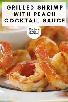 This summer appetizer takes just minutes to whip up. Fresh peaches give the cocktail sauce some welcome sweetness that pair deliciously with the grilled shrimp! Pork Rib Recipes, Shrimp Recipes, Shrimp Appetizers, Gourmet Recipes, Healthy Recipes, Giada Recipes, Muffins, Bbq Pork Ribs, Scampi Recipe
