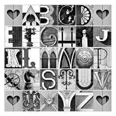 Alphabet Photo Letter Art - ABC's in architectural details - 12x12 print perfect for a teachers gift..Etsy.