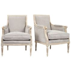 19th Century Pair of Louis XVI Bergeres | From a unique collection of antique and modern bergere chairs at https://www.1stdibs.com/furniture/seating/bergere-chairs/
