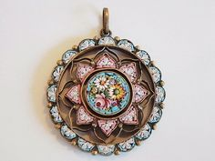 Micro Mosaic Pendant, the first half of the 20th century, Italy