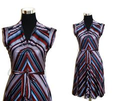 1970s Chevron Dress 70s Mini Disco Dress S Joseph by SissysVintage For sale on etsy $40.00 Check it out! #forsale #Christmasgift #vintageclothes