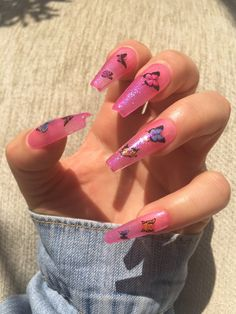 Butterflies Jellies Nails * Fake Nails * Glue on Nails * Pink Nails * Bright . - Butterflies Jellies Nails * Fake Nails * Glue on Nails * Pink Nails * Bright … – lil. Aycrlic Nails, Neon Nails, Glue On Nails, Swag Nails, Coffin Nails, Grunge Nails, Stiletto Nails, Jelly Nails, Bright Nails