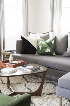 Gray Sofa in Mid Century Living Room & coffee table Sofa Living, Living Room Lounge, Formal Living Rooms, Living Room Grey, Living Room Modern, Home Living Room, Interior Design Living Room, Living Room Designs, Small Living