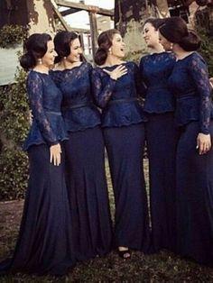Sheath/Column Bateau Long Sleeves Sweep/Brush Train Lace Chiffon Bridesmaid Dresses
