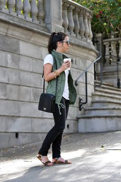 Crystalin Marie - military vest, white tee, maybe not the black skinnies, leopard sandals Spring Summer Fashion, Autumn Winter Fashion, Spring Outfits, Fall Fashion, Green Fashion, Curvy Fashion, Vest Outfits, Casual Outfits, Cute Outfits