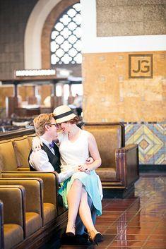 Vintage Engagement Photography: LA Union Station & Downtown Los Angeles