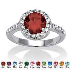 Round Birthstone and .55 TCW Cubic Zirconia Ring in Sterling Silver