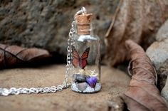 Monarch butterfly terrarium necklace unique by VeinsOfNature