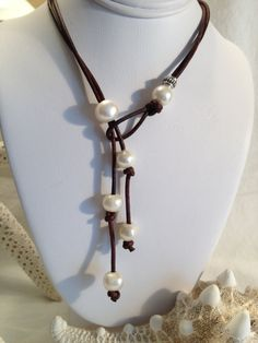 Pearl and  Leather Lariat Necklace Creamy White by JewelsbytheBay, $37.00