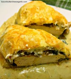 Chicken Wellingtons...zesty cream cheese, sauteed mushrooms and onions, and an amazing creamy mustard sauce!