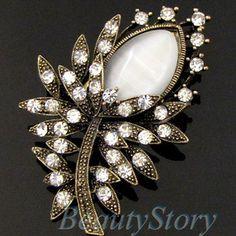 ADD'L Item FREE SHIPPING antiqued rhinestone crystal flower brooch pin wedding | eBay