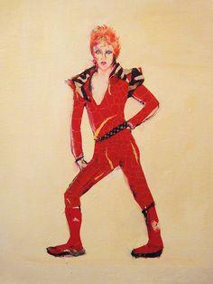 David Bowie in Red Jumpsuit by Jenny Belin