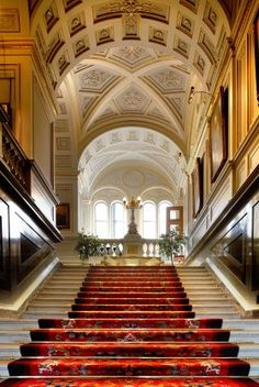 The Grand Staircase of Alnwick Caslte.  Photo courtesy of Alnwick Castle. (The staircase is made of polished marble.)