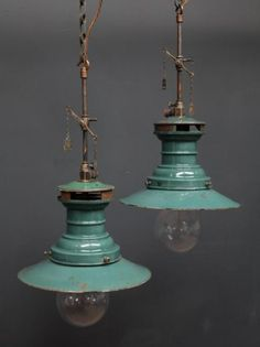 Vintage pendant gas lamp lights - great for the minimalist kitchen