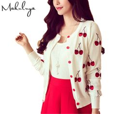 We love it and we know you also love it as well Makuluya Autumn spring women Sweater cherry Embroidery Pattern all-match lady jacket coat Long Sleeve Short Knitting Cardigan 89 just only $14.20 with free shipping worldwide  #womansweaters Plese click on picture to see our special price for you