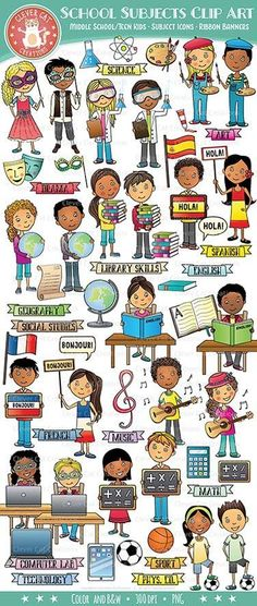 School subject kids and icons clip art, great for any resources about different subject areas. Teaching Activities, Teaching Resources, Subject Labels, Science Clipart, Library Skills, Ribbon Banner, Kids Icon, Kids Ride On, School Subjects