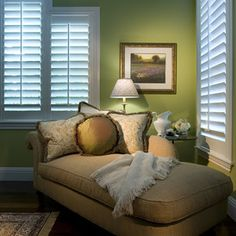 bedroom sitting area - odd shaped windows look perfect with shutters http://www.springcrest.net.au/blinds.html