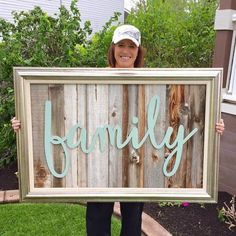 "I Love this reclaimed wood wall art. Not sure I see that as an F though, but that is totally off topic. I see ""bamily"". Use reclaimed wood or fake it with untreated wood from the hardwa…"