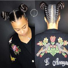 Cute two buns , totally love this hair style , how about you, girls ?  #repost #braids #hairstyles #cutehair #bun #hot #girls #blackfirday #fashion #newlook
