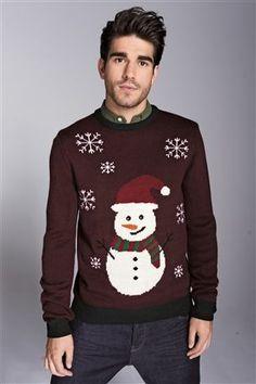 Burgundy Snowman Crew | Men's Christmas jumpers