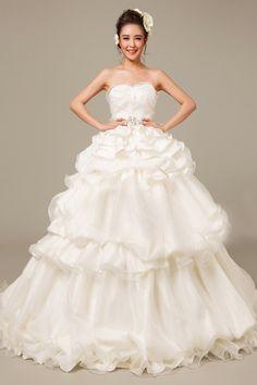 Ball Gown Sweetheart Sleeveless Tiered Satin Court Train Wedding Dress
