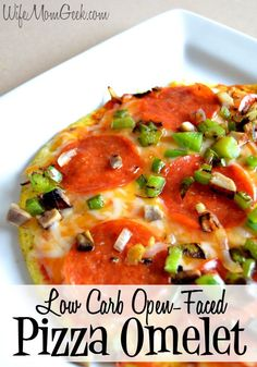 Low Carb Pizza Omelet - an open faced omelet perfect for anytime you're craving some pizza. Perfect for low-carb dieters!