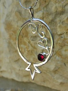 Sterling silver Pomegranate Pendant Pomegranate by LaAlmendra
