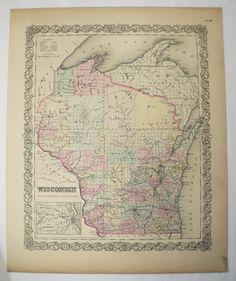 J.H Colton's 1854 Atlas Map of Lake Superior Print  14 X 17