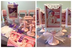 DIY photoframes i made for one of the table centerpieces at my beautiful Elise's Christening reception.  Materials used: 99cents photo frame, 99cents glass candle holder, Krylon baby pink satin spray paint, glue gun and stick, 6inch round doilies and white lace.