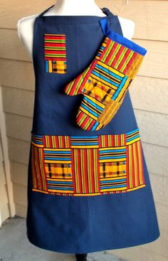 Blue Orange Green African Kente Print Unisex Apron and Mitt by fancyfreeboutique on Etsy African Print Fashion, Africa Fashion, African Fashion Dresses, Fashion Prints, African Attire, African Wear, African Dress, African Style, Style Africain