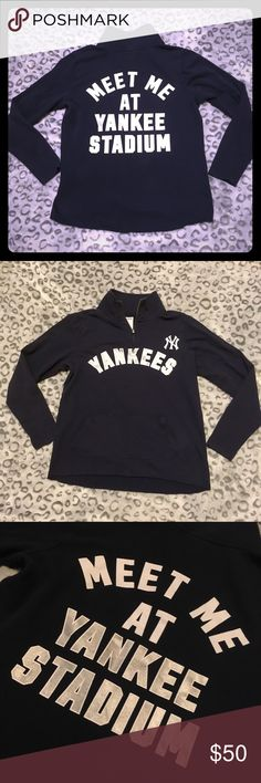 Vs pink New York Yankees sweatshirt Vs pink 5th & ocean. Navy New York Yankee half zip sweater. White and silver font print. Gently used. Good condition! Offers always welcome! PINK Victoria's Secret Tops Sweatshirts & Hoodies