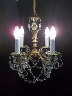 Ornate Gold Brass Crystal Chandelier Petite 4 Light by donDiLights 347.53 AUD