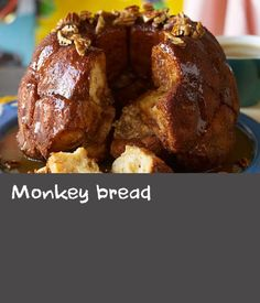 Monkey bread | There are many theories about the name of this recipe – some say it's because the finished loaf resembles the monkey puzzle tree, others that the act of pulling off the individual dough balls is akin to the way monkeys behave. But when it tastes this good, you'll be hard-pressed not to use your hands! Loaf Bread Recipe, Loaf Recipes, Hard Pressed, Dough Balls, Monkey Bread, Monkeys, Puzzle, Yummy Food, Hands